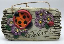 Welcome Garden Wall Hanging 3D Resin Plaque With Ladybug 4x7 inch Yard Art New