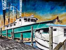 shrimp boat boats seascape signed art print of watercolor painting nautical