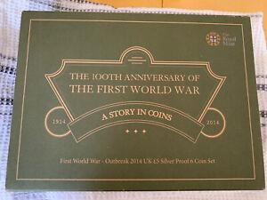 Great Britain Royal Uk Mint 2014 First World War Centenary 6 Coin Proof Set Rare