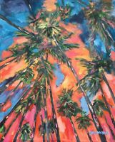 California Palm Trees Original Art PAINTING DAN BYL Modern Contemporary 4x5ft