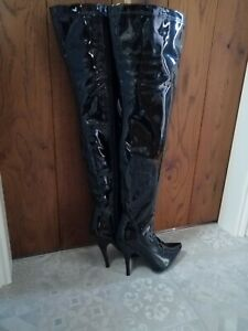 Black Thigh Boots Size UK 8