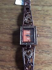 Ladies KIMIO Bronze Coloured Watch with Square Stone  Encrusted Dial  W325/6