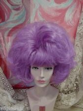 WIG DRAG QUEEN SHORT FULL FLUFFY SOFT STRAIGHT PURPLE PAGE BUBBLE BANGS VOLUME