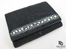 PELGIO Real Genuine Row  DIamond Stingray Skin Leather Trifold Wallet Black