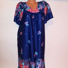 Haband for Her Vintage Womens Sleepwear Night Gown Pajamas Large Blue Floral