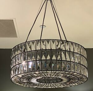 """Pottery Barn Adeline Faceted Crystal Small Round Chandelier, Bronze, 19.5"""" Diam"""