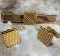 Mid Century Geometric Gold Plated Mens Cuff Links Tie Clasp Jewelry Set 319