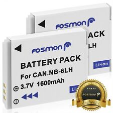 2x Fosmon Battery Canon NB-6L /NB-6LH 1600mAh SX280 HS SX260 HS SX500 IS D20 S95