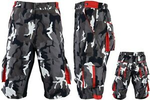 ProAthletica Mens Camo MTB Off Road Cycling Shorts Cool-max Padded Liner Shorts