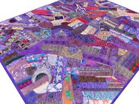 Indian Quilt Patchwork Purple Sari King Paisley Vintage Patches India Bed Cover