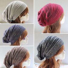 Womens Mens Warm Winter Baggy Beanie Knitted Crochet Ski Hat Slouch Cap
