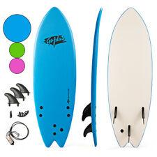 """5'5"""" Surf Board Surfing Beach Ocean Foamie Board w/Wrist Rope & 3 Fins Blue"""