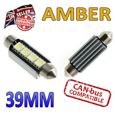2 x 39mm Festoon Amber Canbus LED Number Plate Interior 4 SMD Bulbs 239