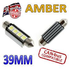 2 x 39 millimetri Festoon AMBRA LED CANBUS TARGA INTERNI 4 SMD Lampadine 239