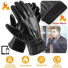Men Women Winter Warm Gloves Touch Screen Windproof Driving Synthetic Leather US
