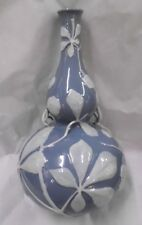 """Herend, Hungary  - Double Gourd Vase, 12 1/2"""" tall - Blue, White - 1949"""