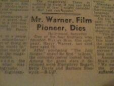 WARNER BROTHERS DEATH MOVIE MEMORABILIA NEWSPAPER CUTTINGS SCRAPBOOK MATERIAL