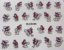 3D Nail Art Sticker Sparkle Glitter Pink Red Gold Butterfly Decal Decoration 839