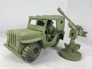 Vintage Marx ? Military Plastic Willys Jeep Army Green Toy Gun Cannon