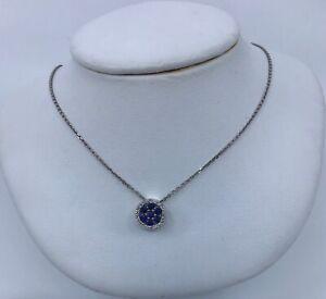 Gabriel & Co 14k White Gold Sapphire & Diamond Pendant Necklace