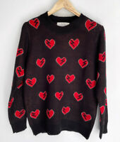 FRANKIES MELBOURNE Electric Heart Knit Jumper Sweater Black Red