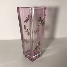 "Moser Pink Crystal 10"" Vase With Applied Silver Dragonflies with Amethyst Eyes"