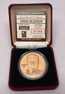 HIGHLAND MINT DREW BLEDSOE BRONZE COIN RARE W/COA NEW ORIGINAL CASE #07348