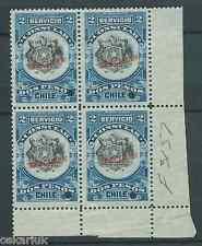 "CHILE ""SERVICIO CONSULAR"" SPECIMEN 2 pesos MNH block of 4 corner sheet"