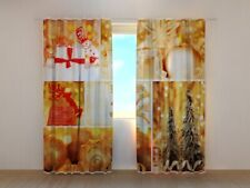3D Photo Curtain Printed Golden Christmas Collage by Wellmira Made to Measure