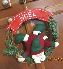 Christmas Wreath Wood Vine & Twine Tumbling Santa Hanging Noel & Pine Cones