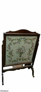 Antique  victorian embroidered Fire Screen - Excellent Condition