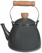 Charcoal coloured enamel stove kettle - perfect for gas hobs and stoves