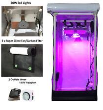 "Reflective Hydroponic GrowBox Tent Kit 12""x12""x24"" ; White 50W Led Grow Lights"