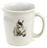 Keramika Greschner Slovakia Mug Cup Horse Art Ceramic Gray Taupe Beige EUC