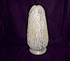 Mid Century Modern White And Gold Bark Like Textured Tall Vase by Deena Savoy