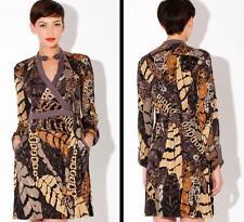 Hale Bob Dress Size XS 2 4 Silk Jersey Wrap Leaves Print NWT Neutral $380