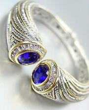 STUNNING Chunky Blue Sapphire Crystals Tips Silver Cable Gold Cuff Bracelet