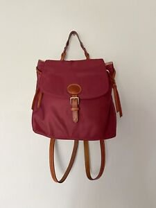 Authentic Dooney & Bourke Small Burgundy Nylon Flap Backpack EUC Fall Winter