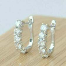 1.51 Ct Round VVS1 Diamond Huggie Hoop Women's Earrings In 14K White Gold FN