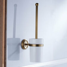 Bathroom Wall Mounted Brass Toilet Clean Brush Holder with Ceramic Cup Set