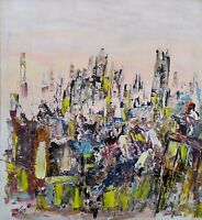 Original Abstract Modern Framed Painting Wood Contemporary Signed Inspirationa