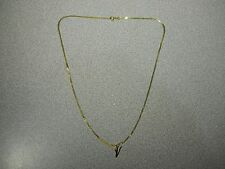 "14K Yellow Gold Chain Neckless 17.75"" (18"") with V Pendant - 2 Grams - Italy"