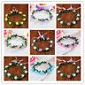 Women's Flower Crown Headband Hairband Wreath Hair Bands Floral Garland RibbonNT