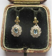A Fabulous Pair of Aquamarine & Diamond Earrings in Solid 18ct Yellow Gold
