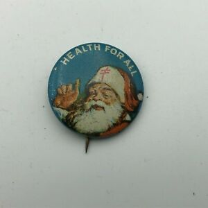 Vtg Christmas Santa Claus Health For All Button Badge Pinback Tuberculosis B4