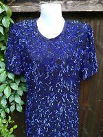 Vintage Stenay Blue Black Floral Sequin Beaded 100% Silk Evening Dress Size P2