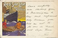 Red Star Line Anvers-New York Ship and People in Rowboat Antwerpen Antwerp – udb
