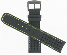 Citizen 22mm Black Leather & Green Stitches Proximity Watch Band 59-S52493