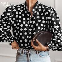 AU Women Autumn Plus Size Long Sleeve Top Tee T Shirt Button Up Polka Dot Blouse