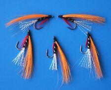 5 Pcs Saltwater orange streamer Lure 8# Fly Fishing w/ Free Box D268